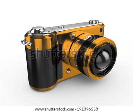 3d Digital Photo Camera (Yellow) - isolated - stock photo