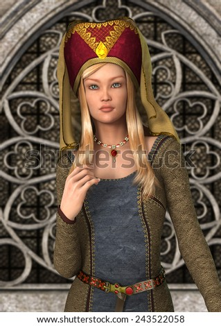 3D digital render of a beautiful blond medieval lady on a fairytale castle background - stock photo