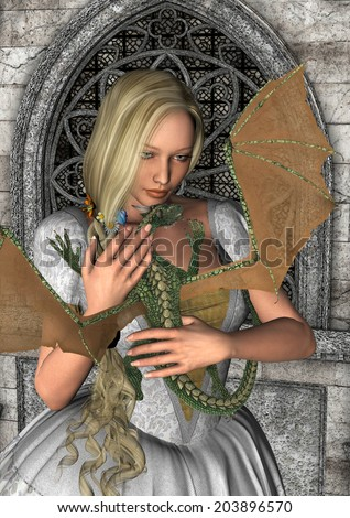 3D digital render of a beautiful fairy tale princess holding a little green dragon on a fantasy castle background - stock photo