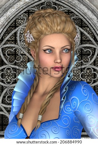 3D digital render of a beautiful fairy tale princess on a fantasy castle background - stock photo