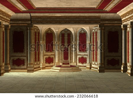 3D digital render of a beautiful fairytale throne room in red and gold - stock photo
