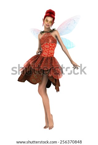 3D digital render of a beautiful fantasy fae isolated on white background - stock photo
