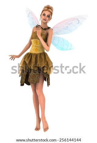 3D digital render of a beautiful fantasy faery isolated on white background - stock photo