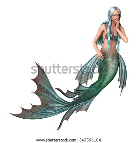 3D digital render of a beautiful fantasy mermaid isolated on white background