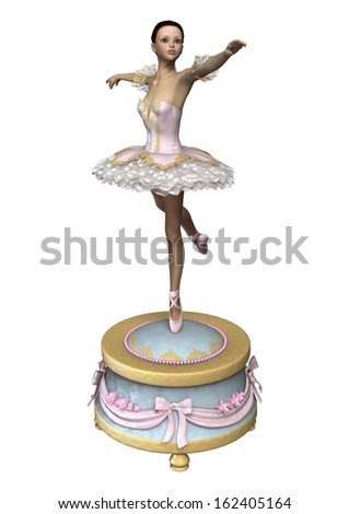 3D digital render of a beautiful female ballet dancer on a vintage music box isolated on white background - stock photo