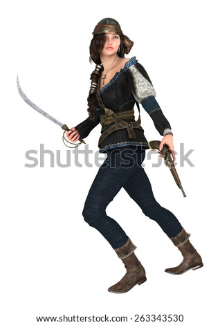 3D digital render of a beautiful female pirate holding a gun and a scimitar isolated on white background - stock photo