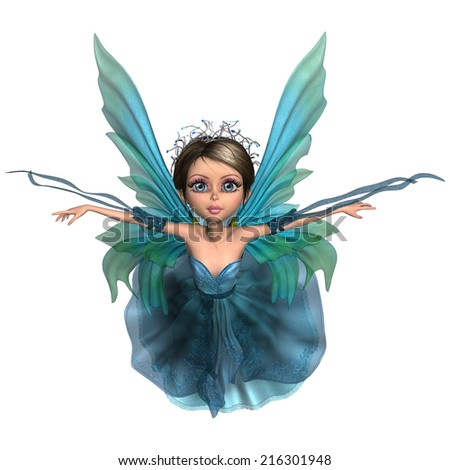 3D digital render of a beautiful flying fairy isolated on white background - stock photo