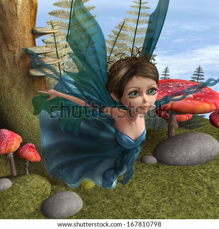 3D digital render of a beautiful flying little fairy butterfly in a fantasy forest - stock photo