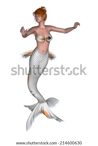 3D digital render of a beautiful mermaid isolated on white background - stock photo