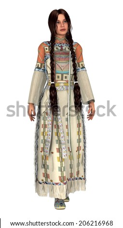 3D digital render of a beautiful native American young woman in a traditional clothing isolated on white background - stock photo