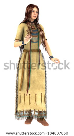 3D digital render of a beautiful native American young woman isolated on white background