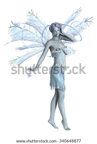 3D digital render of a beautiful snow fairy isolated on white background