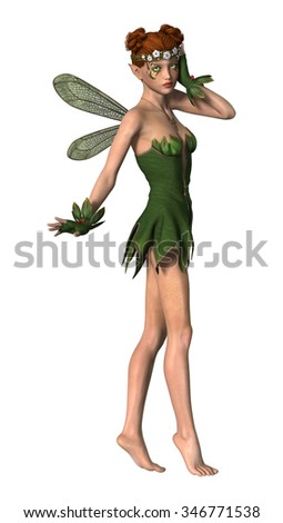 3D digital render of a beautiful spring fairy isolated on white background