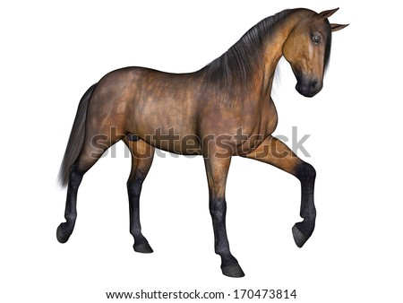 3D digital render of a beautiful trotting horse isolated on white background
