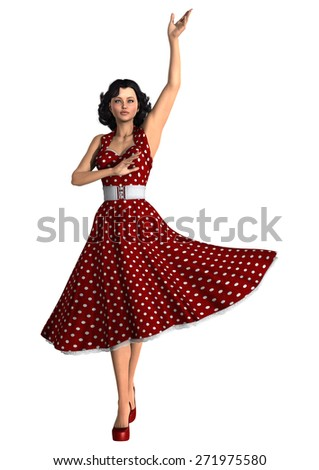 3D digital render of a beautiful vintage woman wearing a red polka dots dress isolated on white background - stock photo