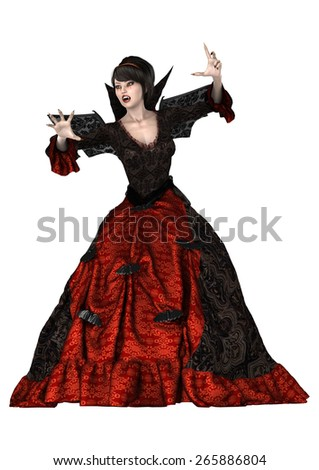 3D digital render of a beautiful witch isolated on white background - stock photo