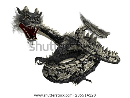 3D digital render of a black Eastern dragon isolated on white background - stock photo