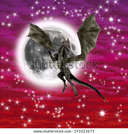 3D digital render of a black fantasy dragon on a red and purple sky with stars and a moon background