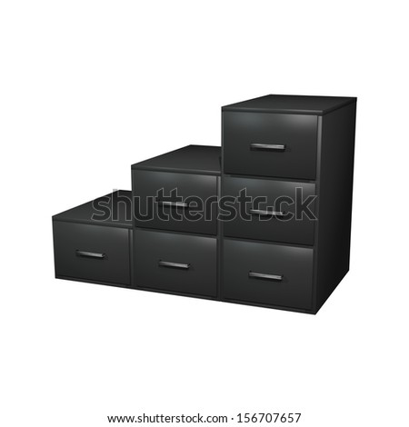 3D digital render of a black filing cabinet isolated on white background