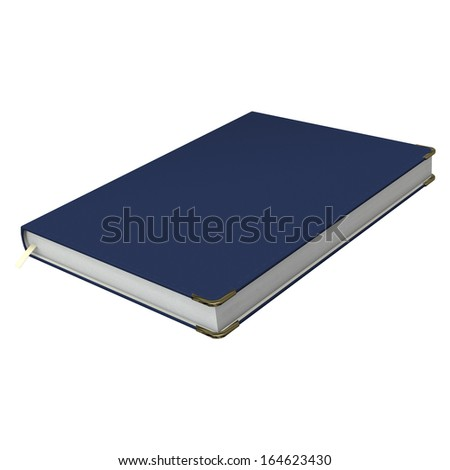 3D digital render of a blue diary isolated on white background