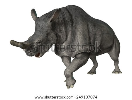 3D digital render of a Brontotherium isolated on white background