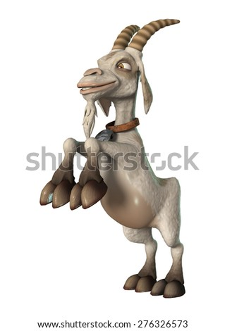 3D digital render of a cartoon goat isolated on white background