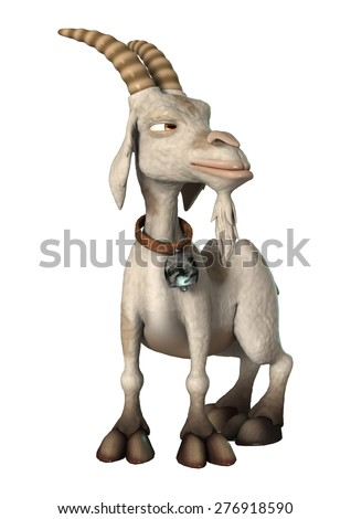 3D digital render of a cartoon goat shocked isolated on white background