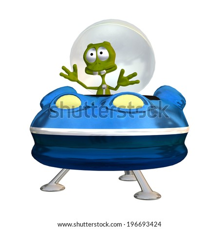 3D digital render of a cute alien in a blue spaceship isolated on white background - stock photo