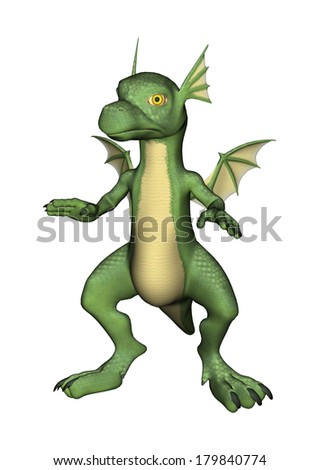 3D digital render of a cute green little dragon isolated on white background