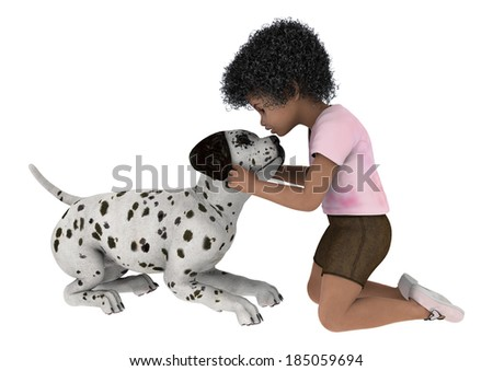 3D digital render of a cute little african girl playing with a dalmatian dog isolated on white background - stock photo