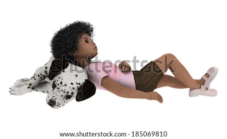 3D digital render of a cute little african girl resting with a dalmatian dog isolated on white background - stock photo