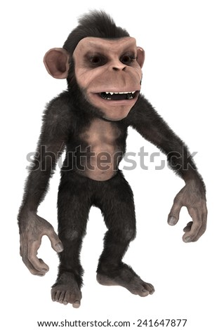 3D digital render of a cute little chimpanzee isolated on white background