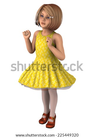 3D digital render of a cute little girl in a yellow dress isolated on white background - stock photo