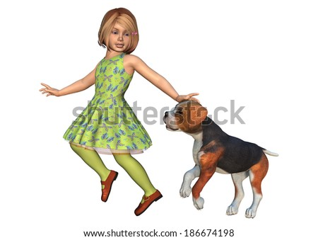 3D digital render of a cute little girl playing with a hound dog isolated on white background - stock photo