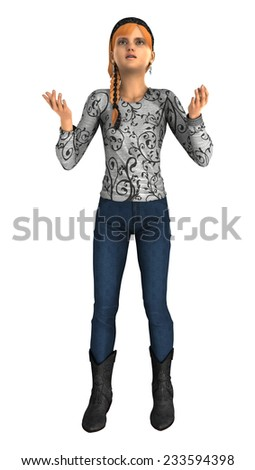 3D digital render of a despaired teenager girl in a isolated on white background - stock photo