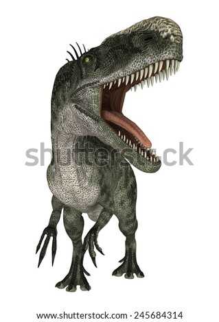 3D digital render of a dinosaur Monolophosaurus isolated on white background - stock photo