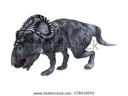 3D digital render of a dinosaur protoceratops isolated on white background