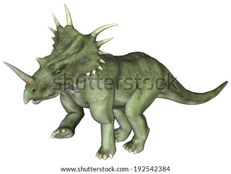 3D digital render of a dinosaur Styracosaurus or spiked lizard, a genus of herbivorous ceratopsian dinosaur from the Cretaceous Period (Campanian stage) isolated on white background