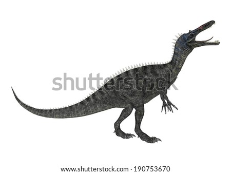 3D digital render of a dinosaur Suchomimus isolated on white background