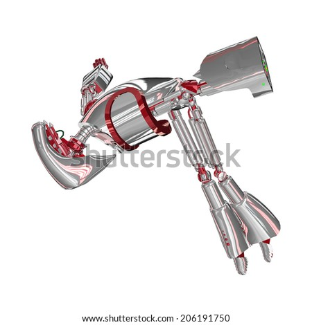 3D digital render of a diving droid being hit isolated on white background - stock photo