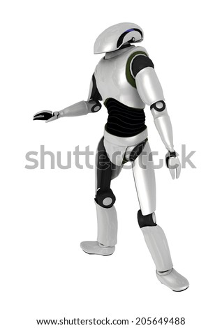 3D digital render of a droid isolated on white background - stock photo