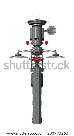 3D digital render of a drone, automatic combat laser system, isolated on white background - stock photo