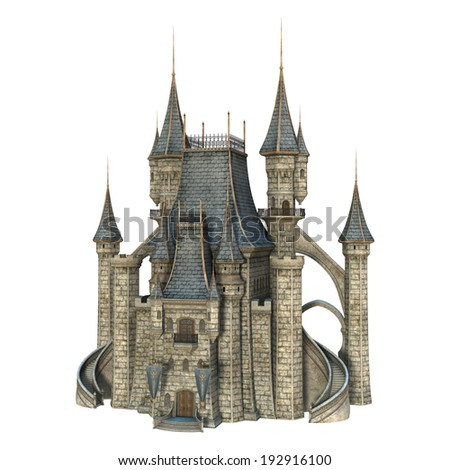 3D digital render of a fairy tale castle isolated on white background - stock photo