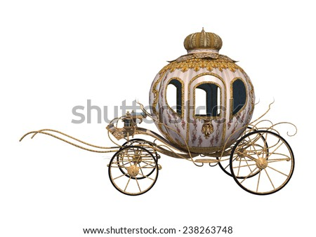 3D digital render of a fairytale Cinderella's carriage isolated on white background - stock photo