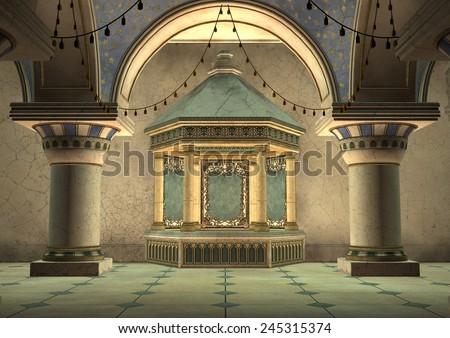 3D digital render of a fairytale oriental palace - stock photo