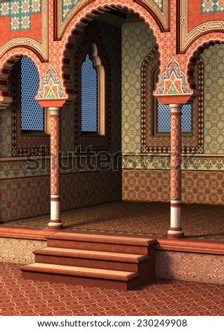 3D digital render of a fairytale oriental palace, blue sky in the windows - stock photo