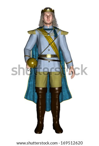 3D digital render of a fairytale prince isolated on white background - stock photo