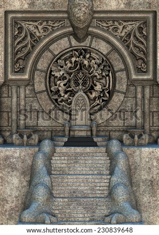 3D digital render of a fairytale throne isolated on white background - stock photo