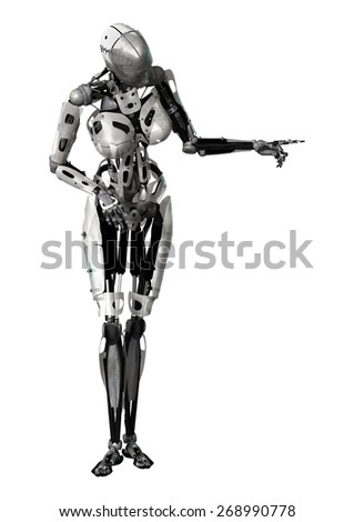 3D digital render of a female cyborg pointing at something isolated on white background