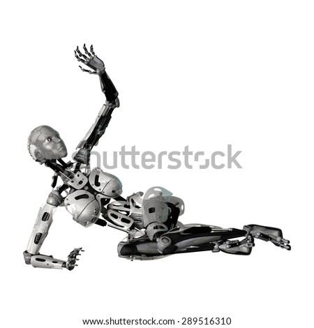 3D digital render of a female cyborg protecting herself isolated on white background - stock photo